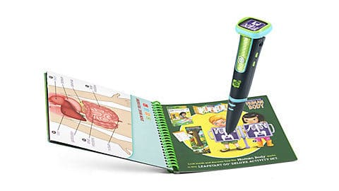 "Learn in an exciting new way with the innovative LeapStart® Go interactive learning system. This sleek, easy-to-hold stylus triggers videos and audio responses using the adjustable 1.44"" LCD screen and built-in speaker. LeapStart® Go makes it easier for preschool through first grade kids to understand more advanced information with activity sets like The Human Body and School Success (sold separately). Cool interactive video effects let kids zoom in, explore and interact with a variety of learning concepts by touching the stylus on interactive charts, book pages and more. Holds up to 13 LeapStart® animated books. A computer with an Internet connection is required to download books and activity sets onto the LeapStart® system. Not compatible with LeapReader® books. Intended for ages 4-8 years. Rechargeable lithium battery included."